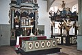 Prerow, seamen´s church, the pulpit altar and the baptismal fond.jpg