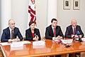 Preses konference par Ministru prezidenta Valda Dombrovska vadītās trešās valdības veikumu pirmajās simts dienās un nākotnes iecerēm (6770491143).jpg