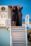 President Barack Obama arrives on Air Force One Saturday March 7, 2015 at Maxwell Air Force Base. Obama landed at Maxwell to board Marine One to go to Selma, Ala..jpg