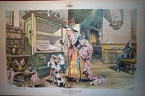 Old Mother Hubbard - An 1897 Judge cartoon shows President William McKinley as Old Mother Hubbard, and her dog as Uncle Sam