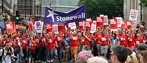 English: Stonewall UK group marching at the ga...