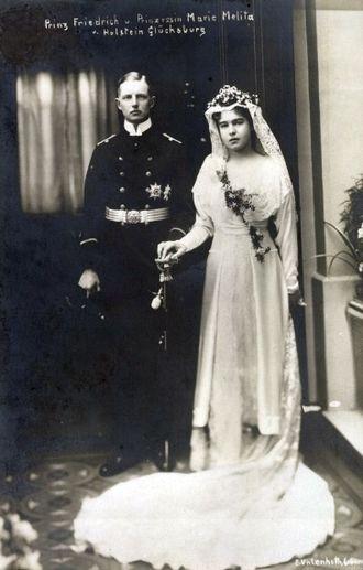 Wilhelm Friedrich, Duke of Schleswig-Holstein - Friedrich and his bride, Marie Melita