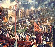 Capture of Constantinople by the Fourth Crusade in 1204.