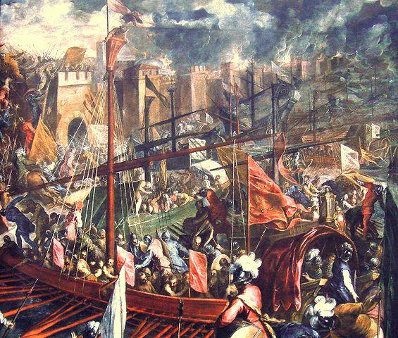 A keresztesek és a velenceiek támadják Konstantinápolyt. - Forrás: Wikipédia