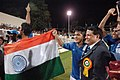 Priyaranjan Dasmunsi and the footballer, Shri Sunil Chetri alongwith other players celebrating after won the final of Nehru Football Cup between India and Syria in New Delhi on August 29, 2007.jpg
