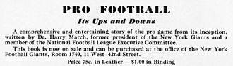 Harry March - Advertisement for Pro Football, Its Ups and Downs, 1934