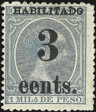 Provisional stamp - 1899 Cuban provisional stamp printed in the town of Puerto Príncipe. Note that cents is misspelled eents