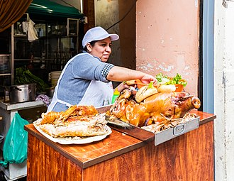 Peruvian cuisine - Street food stand in the center of Lima.