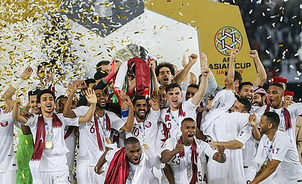 Qatar's players celebrating the country's first-ever Asian Cup title in the 2019. Qatar - Japan, AFC Asian Cup 2019 56.jpg