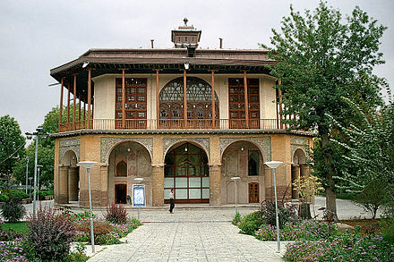 The 16th-century Chehel Sotun pavilion in Qazvin, Iran. It is the last remains of the palace of the second Safavid king, Shah Tahmasp; it was heavily restored by the Qajars in the 19th century. Qazvin - Chehel Sotun.jpg