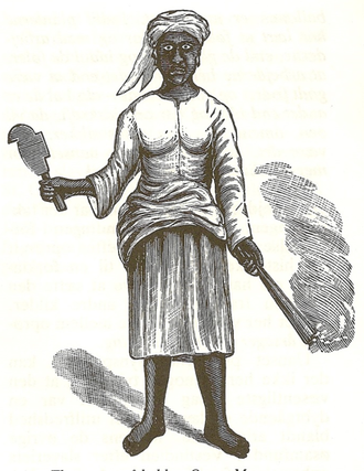 "Mary Thomas (labor leader) - ""Queen"" Mary Thomas, depicted wielding a torch and cane knife, in Charles E. Taylor's ""Leaflets from the Danish West Indies"" (1888)."