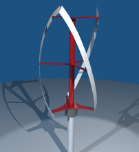 A Blender model of a Quietrevolution wind turbine