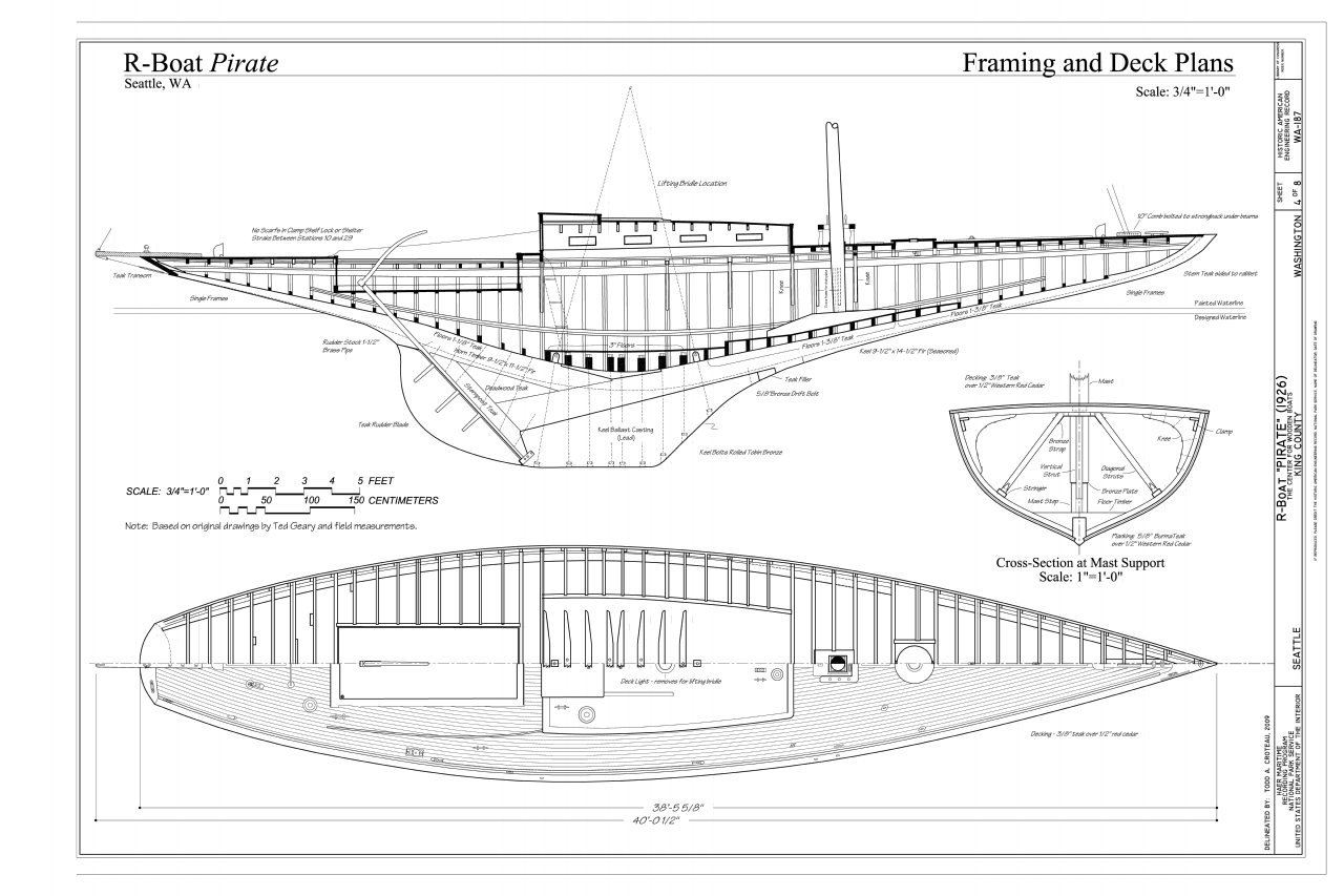 filer boat pirate framing and deck plans r boat pirate the center for wooden boats seattle king county wa haer wa 187 sheet 4 of 8png