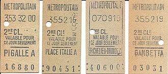 Public transport fares in the Île-de-France - Image: RATP tickets 1960s