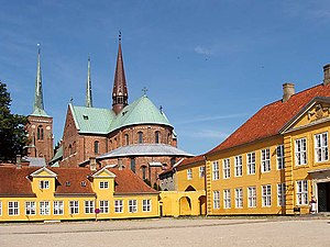 Roskilde Cathedral - The cathedral seen from the Bispegården (Bishop's house).