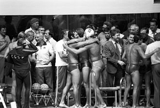 Water polo at the 1980 Summer Olympics - USSR Team, congratulated by their fans after victory in the final. RIAN photo