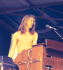 Bundrick at a performance in Hyde Park, London, 1974