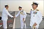 Radm RB Pandit receiving Radm MA Hampiholi, NM onbaord deck of INS Viraat.jpg