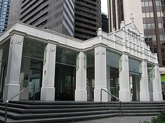 Raffles Place - Entrance to Raffles Place MRT Station.