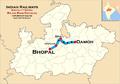 Rajya Rani Express (Bhopal - Damoh) Route map.png
