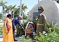 Ram Nath Kovind and First Lady of India laying wreath at the memorial of Fidel Castro, Carlos Manuel de Cespedes and the memorial of Mariana Grajales, during their visits to Santa Ifigenia Cemetery, at Santiago, in Cuba.JPG