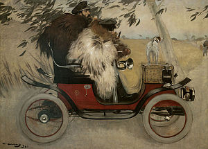 Ramon Casas and Pere Romeu on a Tandem - Ramon Casas and Pere Romeu in an Automobile, 1901