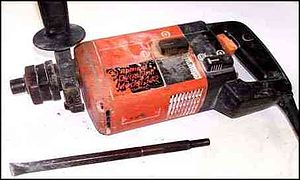 Hammer drill - Ramset 342 Dyna Drill and Chipping Hammer, shown with chipping chisel.