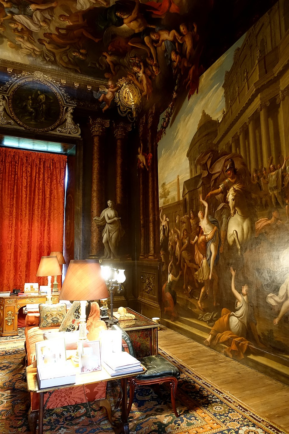 Rape of the Sabines, by James Thornhill, 1690s - Painted Antechamber, Chatsworth House - Derbyshire, England - DSC03298
