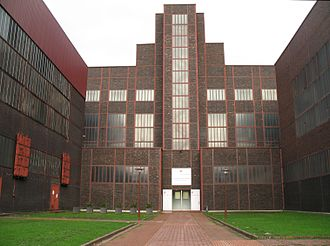 Zollverein Coal Mine Industrial Complex - Former boiler house of shaft 12 in the typcal Bauhaus style with red steel trusses. Today it houses the Red dot design museum.