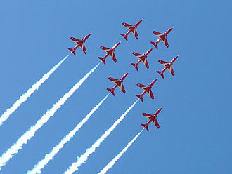The Red Arrows, based at RAF Scampton near Lincoln are a popular attraction at the Waddington Air Show Red Arrows 03.jpg