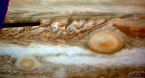 Extraterrestrial atmosphere - Oval BA on the left and the Great Red Spot on the right