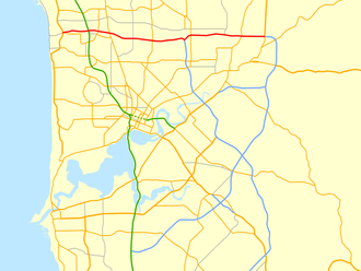 Reid Highway - Map of Perth's central suburbs with Reid Highway highlighted in red