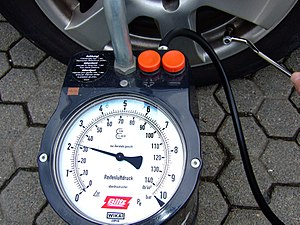 Bar (unit) - A tire pressure gauge displaying bar (outside) and Pounds per square inch (inside)