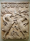 Relief plaque with confronted ibexes, Iran, Sasanian period, 5th or 6th century AD, stucco originally with polychrome painting - Cincinnati Art Museum - DSC03952.JPG
