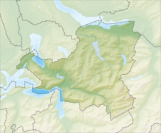 Reliefkarte Schwyz blank