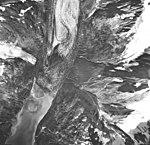 Rendu Glacier, tidewater glacier terminus, hanging glacier and outwash, September 17, 1966 (GLACIERS 5816).jpg