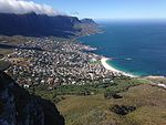 Rescue helicopter on Lions Head overlooking Camps Bay.JPG