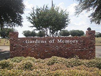 Gardens of Memory Cemetery (Minden, Louisiana) - Entrance to Gardens of Memory Cemetery at Lewisville Road, with office at 211 Murrell Street