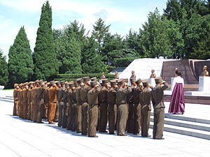Kim Jong-un - North Korean soldiers saluting at the Revolutionary Martyrs' Cemetery in Pyongyang, 2012