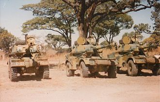 Rhodesian Security Forces - Eland-90 armoured cars of the Rhodesian Armoured Corps.