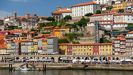 The Ribeira area along the river Douro, part of the UNESCO World Heritage Site Ribera area along the river Duoro, Porto, Portugal, 2019.jpg