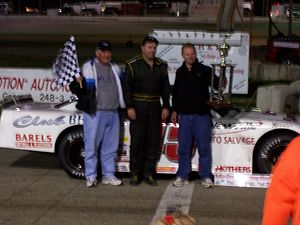 Rich Bickle - Bickle (center) after winning the final stock car races at Lake Geneva Raceway in 2006