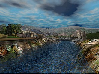 Real-time computer graphics - Virtual reality render of a river from 2000