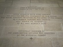 Memorial inscription to John D. Rockefeller Jr., who funded much of the church's construction