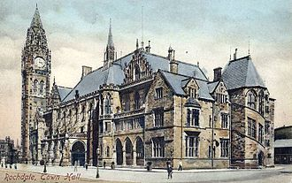 County Borough of Rochdale - Image: Rochdale Town Hall, 1909