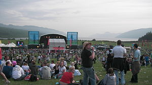 RockNess - View of the main stage overlooking Loch Ness at the 2008 event.