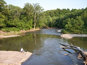 Rocky River (Ohio) - A bend in the Rocky River and adjoining riverbanks are seen in this photo taken from a bridge on the Cleveland-Rocky River border in the Rocky River Reservation.