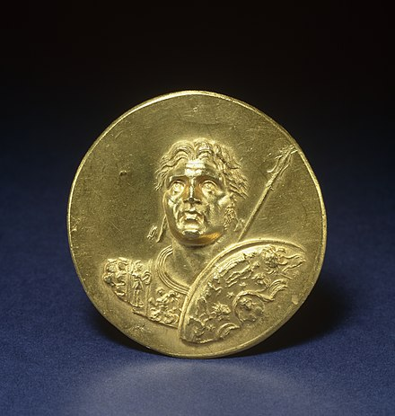 This medallion was produced in Imperial Rome, demonstrating the influence of Alexander's memory. Walters Art Museum, Baltimore. Roman - Medallion with Alexander the Great - Walters 591 - Obverse.jpg