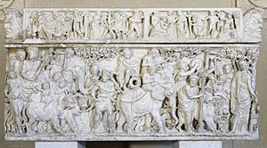 Ancient Roman sarcophagi - The Sarcophagus with the Triumph of Dionysus is a good example of a Metropolitan Roman style sarcophagus with its flat lid, three-sided decoration, and Dionysian scenes from Greek mythology.