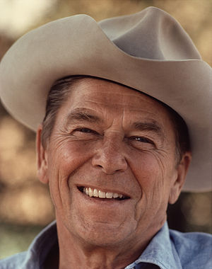 Chief Official White House Photographer - Image: Ronald Reagan with cowboy hat 12 0071M edit